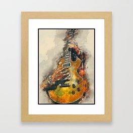 slash's electric guitar, guitar wall art, studio decor, music room decor, gift for guitarists Framed Art Print