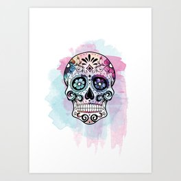 Watercolor Sugar Skull Art Print