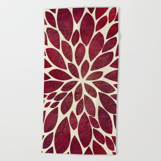 Petal Burst - Maroon Beach Towel
