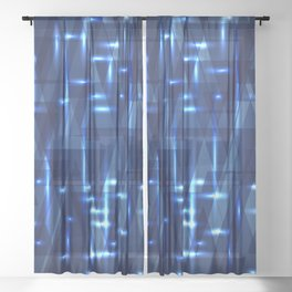Glowing night geometry of dark blue cosmic stripes and extreme lines. Sheer Curtain