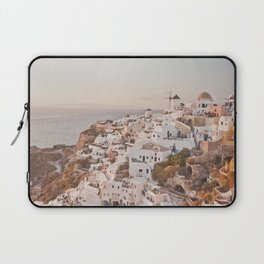 Santorini golden sunset, white houses, dome churches, reflection Laptop Sleeve