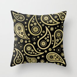 Paisley Funky Design Black and Gold Throw Pillow