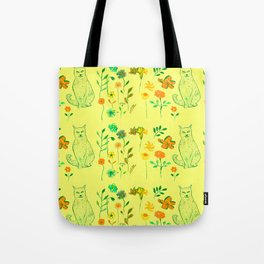 Cat in the garden - Pattern Tote Bag