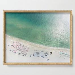 Helicopter View of Miami Beach Serving Tray