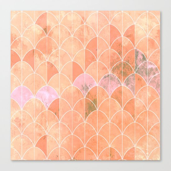 Mermaid scales. Peach and pink watercolors. Canvas Print