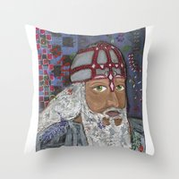 viking Throw Pillows featuring Viking by Shana Conroy aka Wisccheeto