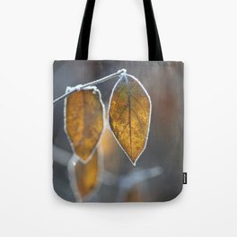 Mustard Yellow and Brown Fall Leaves on Gray Tote Bag