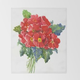 Red Flowers, Primula, red floral design Throw Blanket