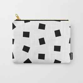 Linocut black and white square geometric pattern minimal basic art Carry-All Pouch