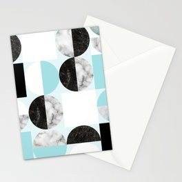 Mid Modern Moon and Sun Geometric Pattern - blue Stationery Cards