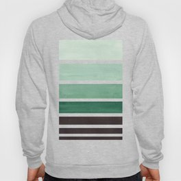 Deep Green Minimalist Watercolor Mid Century Staggered Stripes Rothko Color Block Geometric Art Hoody