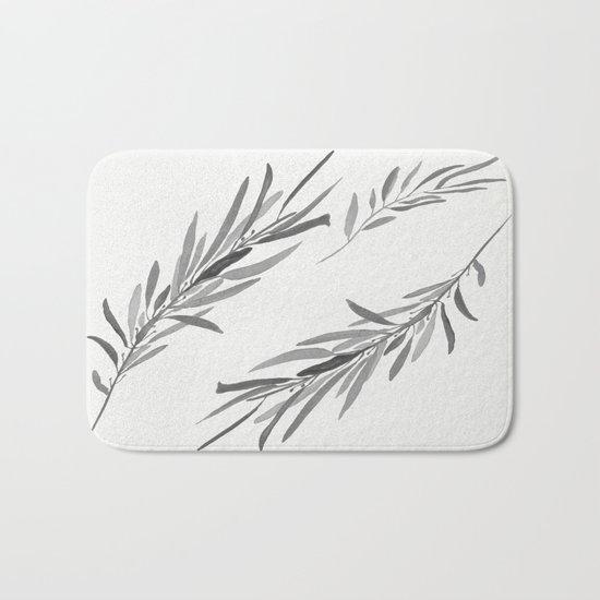 Eucalyptus leaves black and white Bath Mat