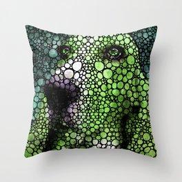 Stone Rock'd Basset Hound Pop Art By Sharon Cummings Throw Pillow