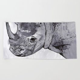 Rhino - Animal Series in Ink Beach Towel