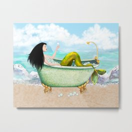 Mermaid Relaxing in the Tub with Bubbles  Metal Print