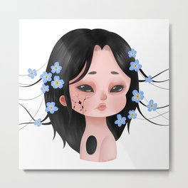 Looming Darkness: Forget-Me-Not - Girl with Flowers Metal Print