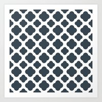 Charcoal and White Quatrefoil Pattern Art Print