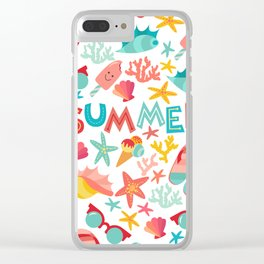 Summer seamless pattern with ice-cream, suglases, cocktail,  starfish, coral, flip flop sandals. Vac Clear iPhone Case