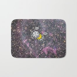 I never meant to hurt you - meteor collision in space cartoon Bath Mat