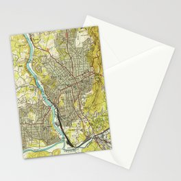Vintage Map of Asheville North Carolina (1943) Stationery Cards