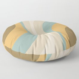 Oysters Abstract Pattern in Mustard, Olive, Cyan, and Taupe Floor Pillow
