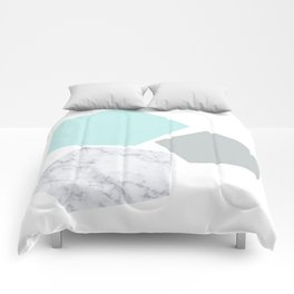 Geo marble and turquoise Comforters