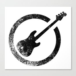 Bass Guitar Ink Stamp Canvas Print