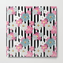 The floral pattern on striped background. Metal Print