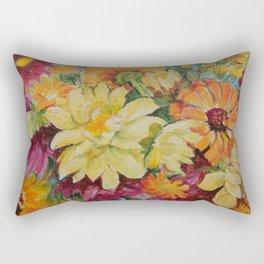 Autumn Garden Flowers Autumn color Floral Painting Ceylon Yellow Fall decor Rectangular Pillow