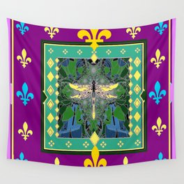 Yellow Dragonfly Purple Fleur de Lys Abstract Wall Tapestry