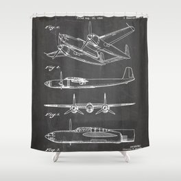Hughes Lockheed Airplane Patent - Hughes Aviation Art - Black Chalkboard Shower Curtain