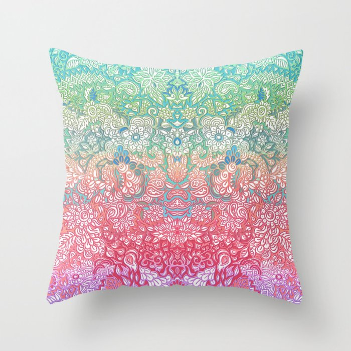 Throw Pillow Doodle : Soft Pastel Rainbow Doodle Throw Pillow by micklyn Society6