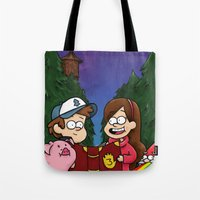 gravity falls Tote Bags featuring Gravity Falls by toibi