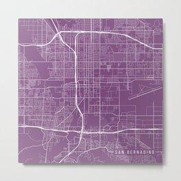 San Bernardino Map, USA - Purple Metal Print