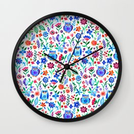 Little Owls and Flowers on White Wall Clock