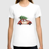 volkswagen T-shirts featuring Christmas Volkswagen Bug  by Emily Frazier