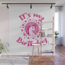Unicorn Birthday Gift Pink Hearts Cute Unicorns Wall Mural