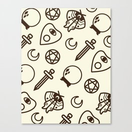 Witchy Vintage Pattern - Cream Canvas Print