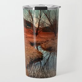A stream, dry grass, reflections and trees | waterscape photography Travel Mug