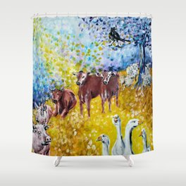 Farm Animals Protected by Saint Brigid of Kildare Shower Curtain