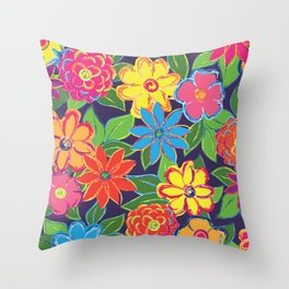 Painted Blooms Throw Pillow