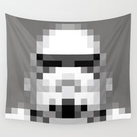 8 bit Wall Tapestries featuring Stormtrooper 8-Bit by Spades
