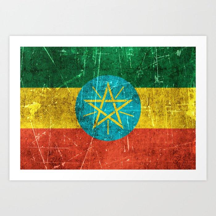 Vintage Aged and Scratched Ethiopian Flag Kunstdrucke
