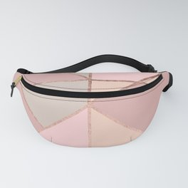 Modern rose gold peach blush pink color block Fanny Pack