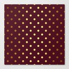 Maroon Gold Polka Dots Canvas Print