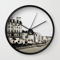 Old sea front Wall Clock
