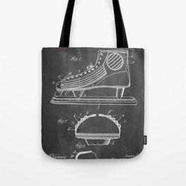 Ice Hockey Skates Patent - Ice Skates Art - Black Chalkboard Tote Bag