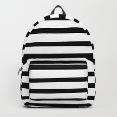 Black and White Hand Drawn Stripes Backpack