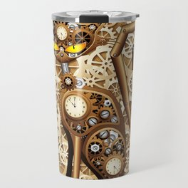 Steampunk Cat Vintage Style Travel Mug