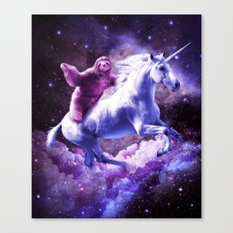 Space Sloth Riding On Unicorn Canvas Print